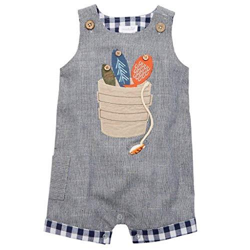 (Mud Pie Baby Boy's Fishing Bucket Shortall (Infant) Blue 9-12)