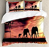 Elephants Decor Twin Duvet Cover Sets 4 Piece Bedding Set Bedspread with 2 Pillow Sham, Flat Sheet for Adult/Kids/Teens, Elephant Silhouettes by a River Africa Animals Wildlife Adventure Landscape