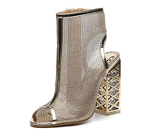 Kuki Römischer Stil Kristall Fish Head Sandalen mit High Heels Schuhe, 2, US6 / EU36 / UK4 / CN36