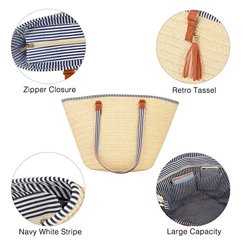 Ouvin Tassel Shoulder Fashionable Beach Woven Beige Bag One Women's r1Hnqgr
