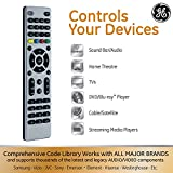 GE 4 Device Universal Remote, Works with Smart TVs, LG, Sony, Blu Ray, DVD, DVR, Roku, Apple TV, and other Streaming Players, Simple Setup, Auto Scan, Pre-Programmed for Samsung TVs, Silver, 33709