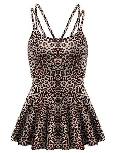 Leopard Print Spaghetti (Zeagoo Women Summer Adjustable Strap Flare Tank Top Plus Size Leopard XXL)