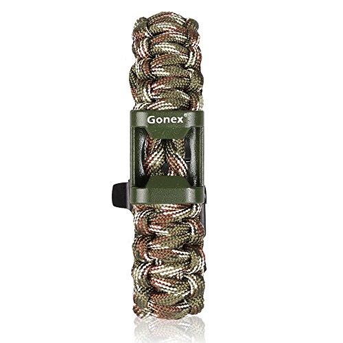 Gonex 550 Paracord Premium Paracord Bracelet with Fire Starter Military Survival Parachute Cord(British woodland camo)
