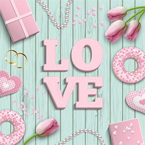Yeele 9x9ft Photography Backdrop Valentine's Day Lovers Couple Wedding Romantic Pastel Blue Wooden Plank Pearl Donut Ring Gift Box Tulip Photo Background Happy Valentine's Day Studio Props