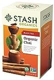 Stash Tea Organic Chai Black Tea, Blend of Organic Black & Green Teas, 18 Count Tea Bags in Foil (Pack of 6)