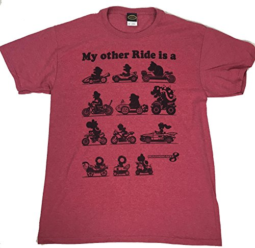 Fifth Sun Men's Nintendo My Other Ride is a Mario Kart T-Shirt (Medium, Red Heather)