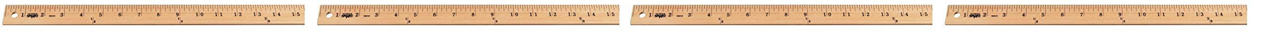 School Smart Wood Yardstick, Plain Ends, 36 Inches, Natural (Fоur Paсk)