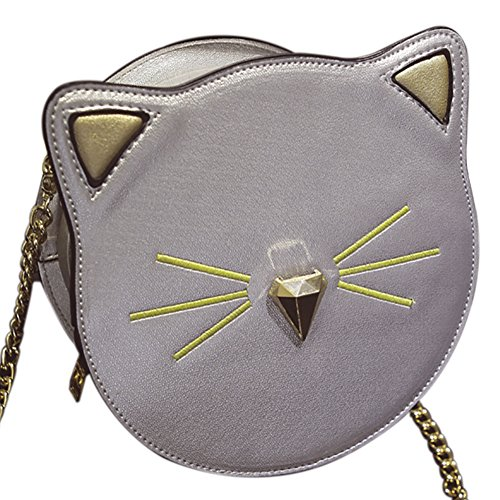 QZUnique Women's PU Round Satchel Cute Cat Face Wallet Cross Body Shoulder Bag Tote Handbag (Girls Bag Silver)