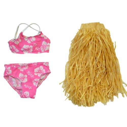 Sand N Sun Toddler Girls 3 Piece Swim Suit Pink Bikini With Grass Hula Skirt - Girl Bathing Hula Suit Bikini