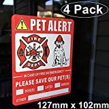 Front Self Adhesive Vinyl Outdoor/Indoor (4 Pack) 127mm X 102mm Home Business Vehicle PET ALERT Safety Warning Window Door Sticker Decals, In Case of Fire Or Emergency Notify Rescue Personnel to Save Dog Cat Bird Animals