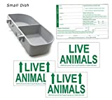 Kennel Travel Kit for Pets – Hook-On Dish & Live Animal Labels (Small)