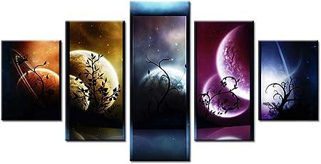 Mmwin 5 Pieces Hd Imprimer Peinture Venus Jupiter Mars Planete