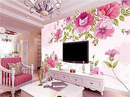 Duleen 3D Mural Wallpaper Custom Made Decoration Pink Flower Hand ...