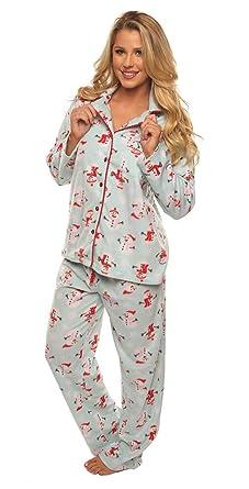 73683e2eed7c Velvet Kitten Pajama Sleepwear Set Snowman Holiday Women s Fleece PJ ...