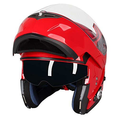 Motorcycle Bluetooth Helmets,FreedConn Flip up Dual Visors Full Face Helmet,Built-in Integrated Intercom Communication System(Range 500M,2-3Riders Pairing,FM radio,Waterproof,L,Red) by FreedConn (Image #2)