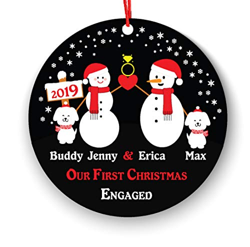 Engagement Personalized Christmas Ornament with 2 Dogs Pets, Our First Engaged Couple Engagement Keepsake Gifts Newly Engaged Couple 1st Xmas Future Husband Wife Owner Lover (Personalized Christmas Ornaments Couple With 2 Dogs)