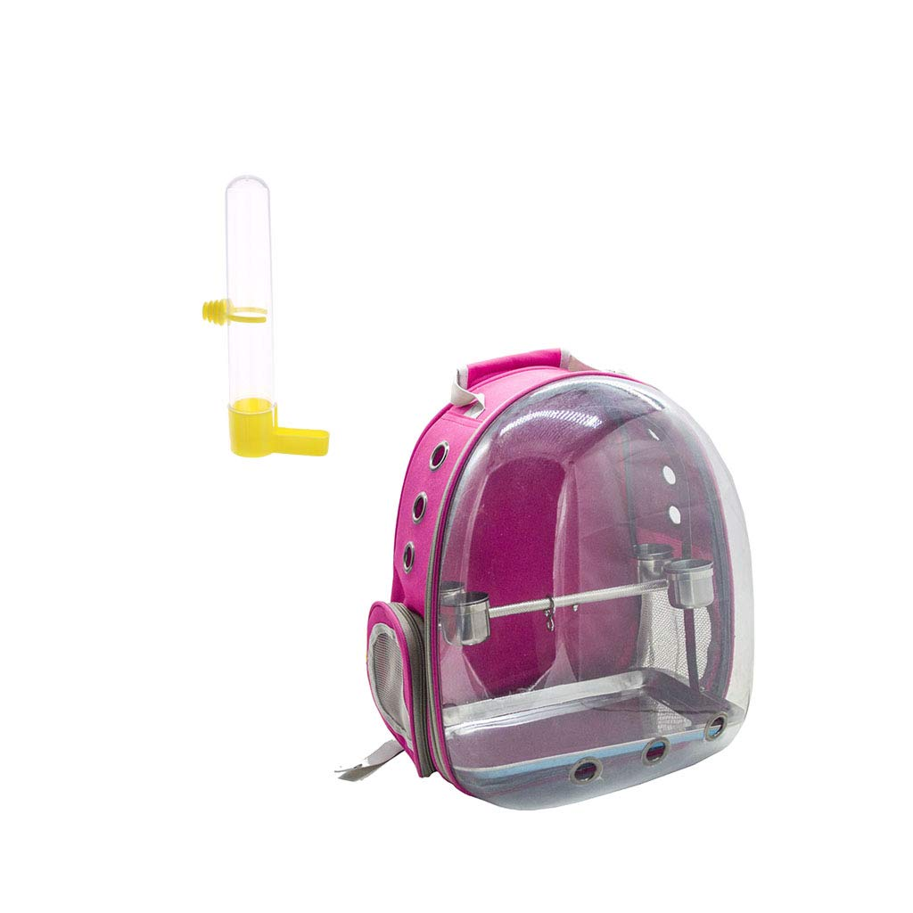 B Blesiya Travel Pet Bird Parred Cage Carrier pink Red With 1 Set Perch Cup & Bird Cage Water Drinker Clip