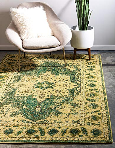 Unique Loom Medici Collection Floral Distressed Traditional Green Area Rug (5' 0 x 8' 0)