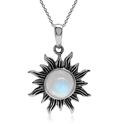 Amazon natural moonstone 925 sterling silver sun pendant w 18 natural moonstone 925 sterling silver sun pendant w 18 inch chain necklace mozeypictures Images