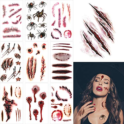 20 Pieces Halloween Scar Tattoo Stickers Realistic Temporary Tattoos Stickers with Blood Stains Scar Gunshot Wounds Design for Halloween Prank Props Cosplay Party -