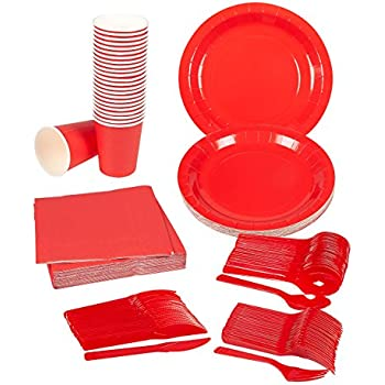 Disposable Dinnerware Set - Serves 24 - Red Party Supplies - Includes Plastic Knives Spoons Forks Paper Plates Napkins Cups Red  sc 1 st  Amazon.com & Amazon.com: Disposable Dinnerware Set - Serves 24 - Black Party ...