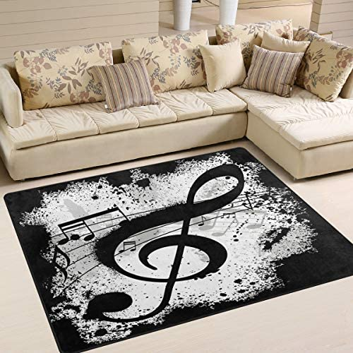 ALAZA Black Music Note Abstract Area Rug Rugs for Living Room Bedroom 7 x 5
