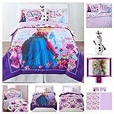 Disney Frozen Full Size Reversible Comforter, Full Sheets, Olaf Plush Pillow & Frozen Night Light -7 Piece Set