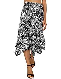 Women's Flowy Handkerchief Hemline Midi Skirt