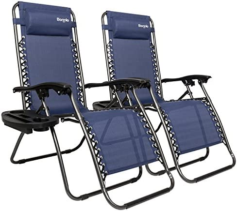 Bonnlo Infinity Zero Gravity Chair, Outdoor Lounge Patio Chairs with Pillow and Utility Tray Adjustable Folding Recliner for Deck,Patio,Beach,Yard Pack 2 Blue