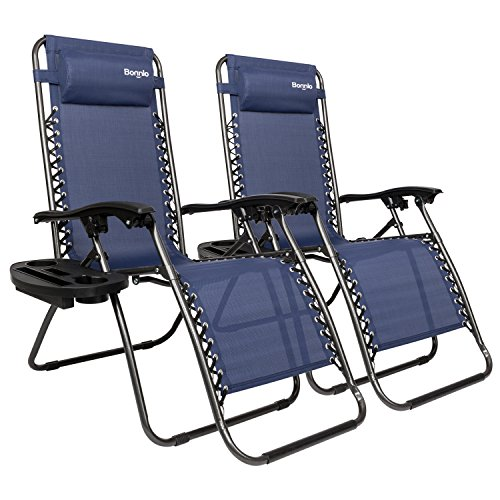 Bonnlo Infinity Zero Gravity Chair Set of 2, Outdoor Lounge Patio Chairs with Pillow and Utility Tray Adjustable Folding Recliner for Deck,Patio,Beach,Yard Pack (Blue)