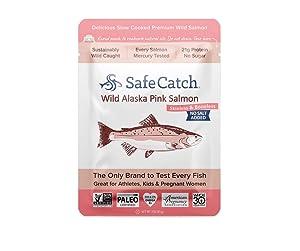 Safe Catch Wild Alaska Pink Salmon, No Salt Added, Mercury Tested, 3oz pouch (Pack of 12)