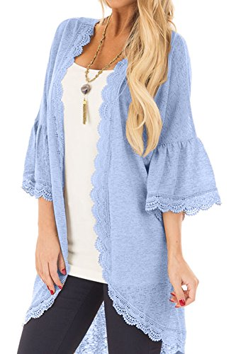 Spadehill Women's 3/4 Ruffle Bell Sleeve Kimono Cardigan with Sheer Lace Details Light Blue M Trim Open Cardigan