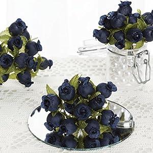 144 pcs Mini Rose Buds - Crafts DIY Wedding Favors Supplies Decorations Sale (Navy Blue) 16