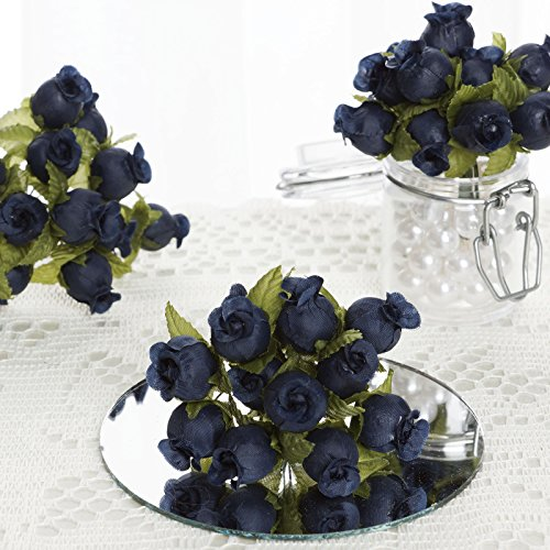 BalsaCircle 144 Navy Blue Craft Rose Buds - Mini Flowers for DIY Wedding Birthday Party Favors Decorations Supplies - Wedding Rose Flower Organza