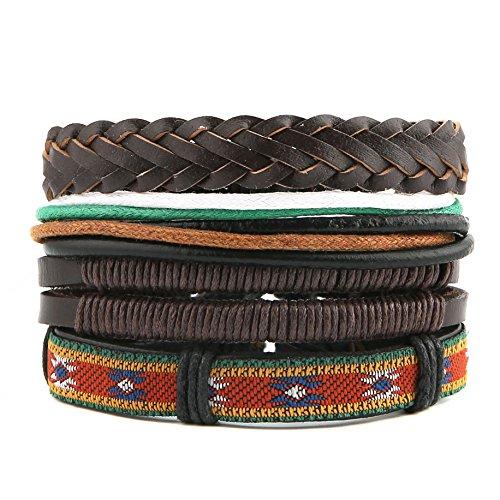 HZMAN Mix 4 Wrap Bracelets Men Women, Hemp Cords Wood Beads Ethnic Tribal Bracelets, Leather Wristbands (K