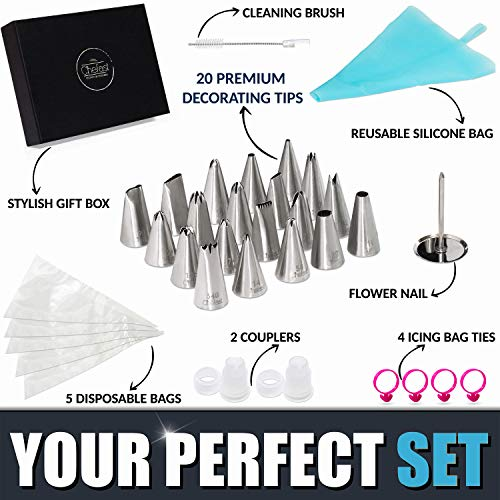 Cake Decorating Tip Set by Chefast - Deluxe Kit of 20 Piping Tips, 5 Frosting Bags, 4 Bag Ties, Couplers, Nail Flower, Reusable Icing Bag, Brush and Gift Box - Great for Cakes, Cupcakes, and Cookies
