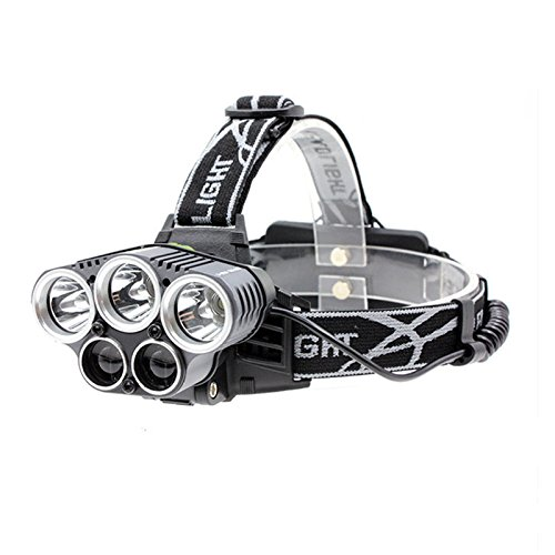 Headlamp 5 LED XM-L T6 Q5 Headlight 15000 lumens LED USB Headlamp Camp Hike Emergency Light Fishing Outdoor+USB Cable Charger+18650 Batteries