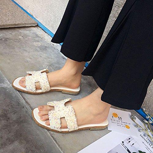GLTER Femmes Sandales ouvertes Toe Mules Low Heel Rhinestone Ladies Slippers Pompes White Black , white , 36
