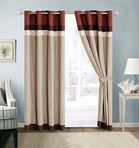 HGS 4-Pc Fez Lattice Geometric Embroidery Curtain Set Rust Orange Khaki Brown Drape Sheer - Lattice Brown