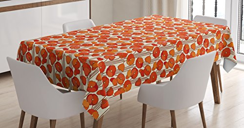 Floral Tablecloth by Ambesonne, Art Nouveau Style Poppy Flowers Retro Spring Summer Garden Foliage Petals, Dining Room Kitchen Rectangular Table Cover, 60 W X 84 L Inches, Vermilion Brown (Art Nouveau Dining Room)
