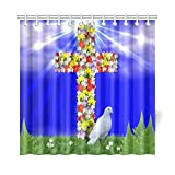Catholic Christian Religious Church Gifts Cross Waterproof Bathroom decor Fabric Shower Curtain Polyester 72 x 72 inches