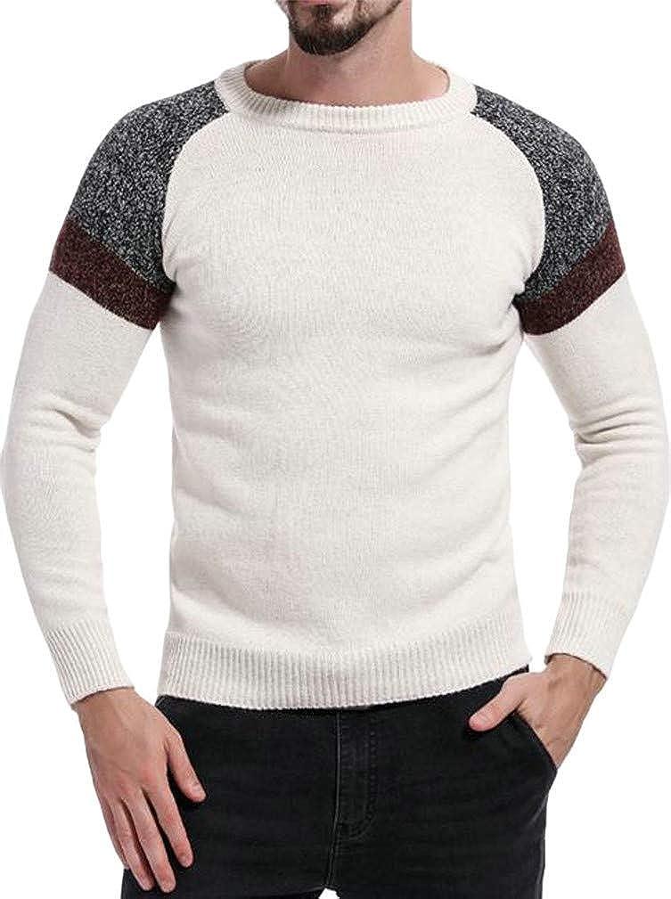 Joe Wenko Men Crewneck Knitted Contrast Color Raglan Sleeve Fashion Pullover Jumper Sweaters
