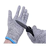 Cut Resistant Gloves,Knife Cut Proof Gloves Cut Proof Resistant Gloves Level 5 Protection Hand Protection Food Grade Whittling Knife Mandolin Woodcarving(M)