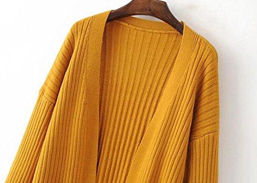 La Primavera Y El Otoño Suéter Y Largas Secciones Bolsillo De La Chaqueta Chaqueta De Punto Chal Beige