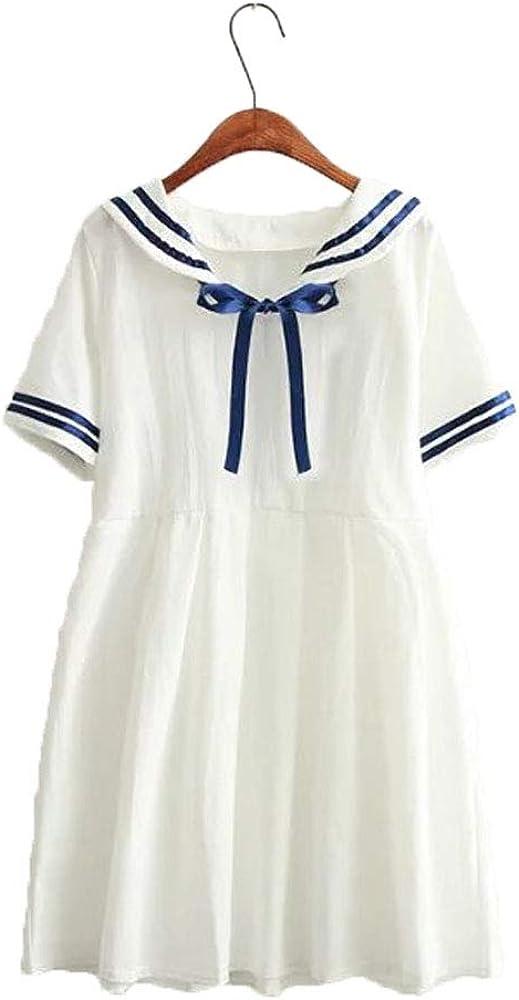 Packitcute Girls Dresses Japanese Sailor Uniform Cute Pleated Dress