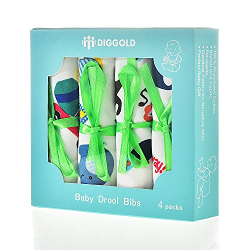 Baby Bandana Drool Bib - 4 Pack baby bibs and burp cloths with Snaps - Soft Absorbent Infant and Toddler Accessories - Perfect Baby Gift Set for Drooling,Feeding,Teething For Boy and Girl DIGGOLD (Homemade Gift Basket Ideas For Parents)