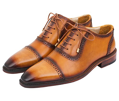 Lethato Handcrafted Mens Captoe Genuine Leather Lace Up Boot Style Shoes,Wooden