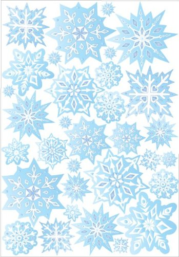 Wonderful Blue Snow Flakes Wall Stickers / Snowflake Wall Decor In Ice Blue / 32 Snowflake  Wall