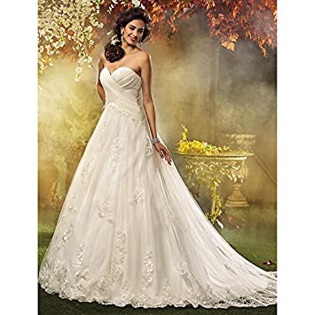 kekafu Una línea de tren Tribunal amada princesa tul vestido de novia con apliques con cruce
