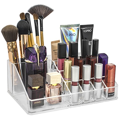 Sorbus Acrylic Cosmetics Makeup and Jewelry Storage Case Display Top-Glamorous, Space- Saving, Stylish Acrylic Bathroom Organizer (Top Style 1)